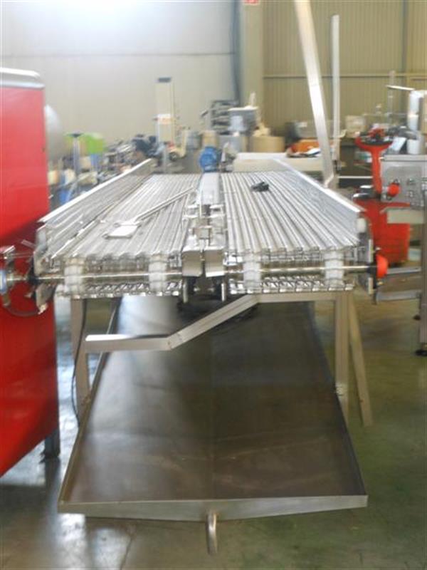 3 cinta transportadora doble perforada en acero inox.l4.13m a84 cm
