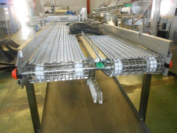 3 cinta transportadora doble perforada en acero inox.l4.15m a84 cm