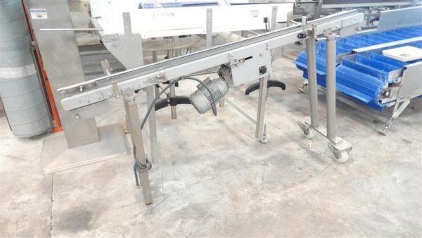 4 cinta transportadora de banda de lona en acero inox. l1.90m
