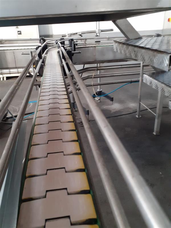 4 cinta transportadora de charnela segui inox. l 7.34 m a 13 cm