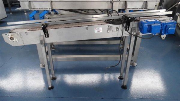 5 cinta transportadora de charnela de pvc en inox.l1.95m a15cm