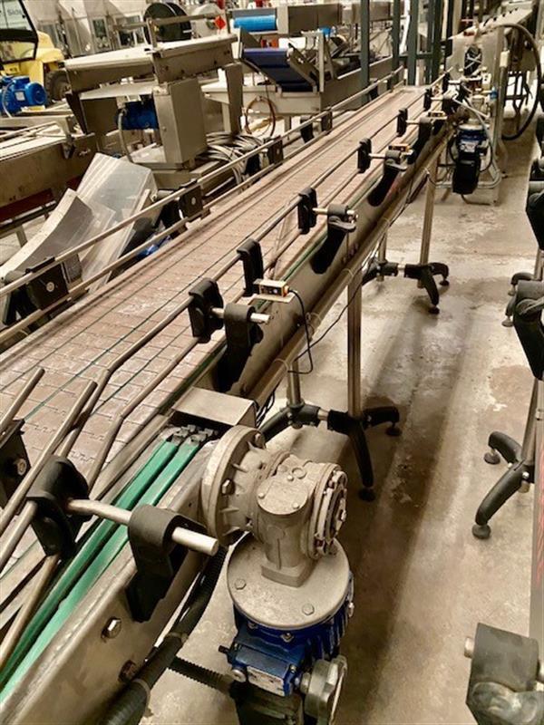 6 cinta transportadora de charnela de pvc de 4 calles sidel inox.l 3.5 m a 35 cm