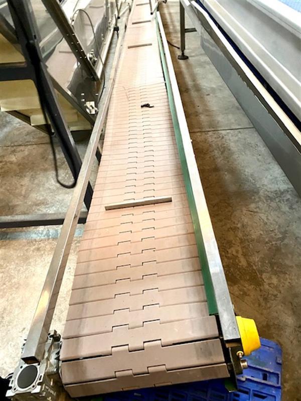 7 cinta transportadora de charnela pvc inox. l 6.10 m a 30 cm